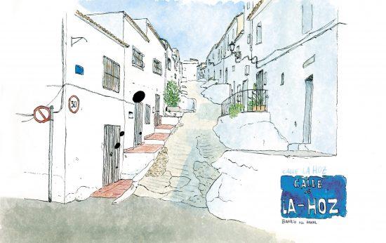Dibujo de la calle de la Hoz, Oliva