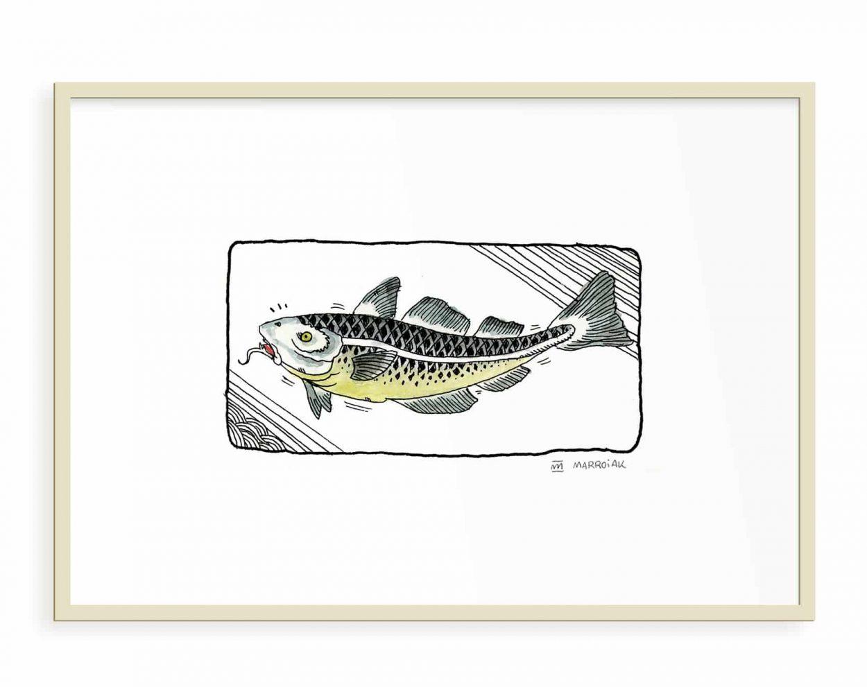 Decoración para el hogar con una lámina de un dibujo de un pez japonés