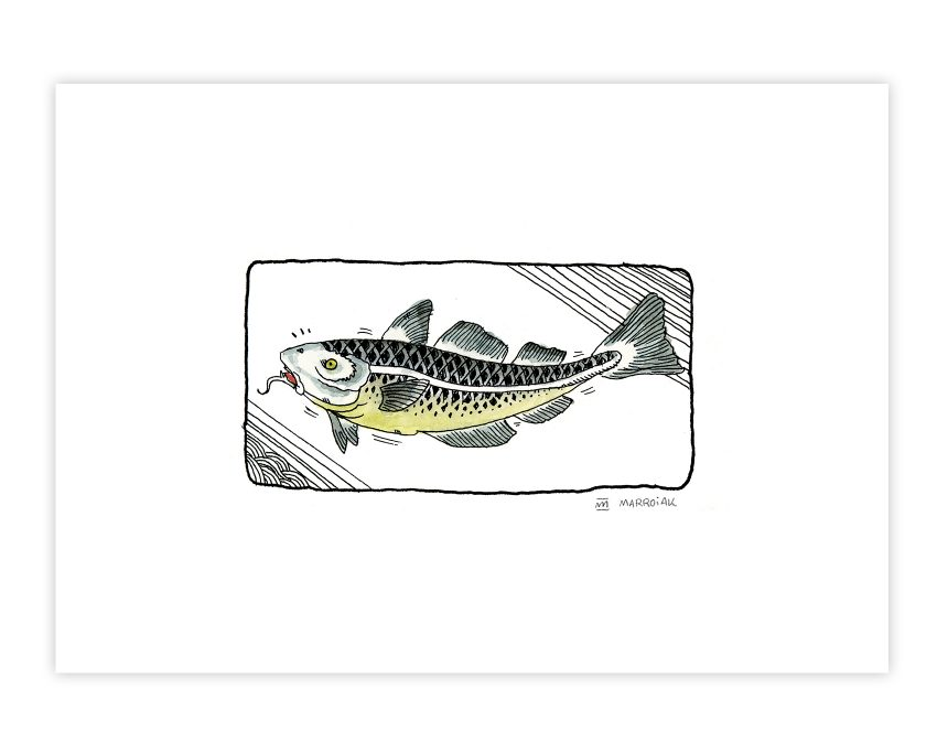 Ilustración de un pescado estilo comic japonés o manga. Ukiyo-e. Lámina decorativa