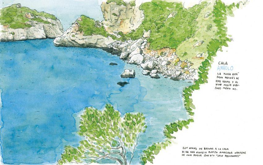 Dibujo en tinta y acuarela de la playa alicantina Cala Ambolo en el municipio de Javea (Xàbia)