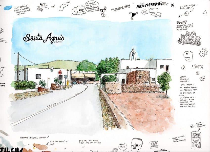 Dibujo del pueblo de Santa Angés en Ibiza, Baleares. Acuarela sobre papel. Boceto