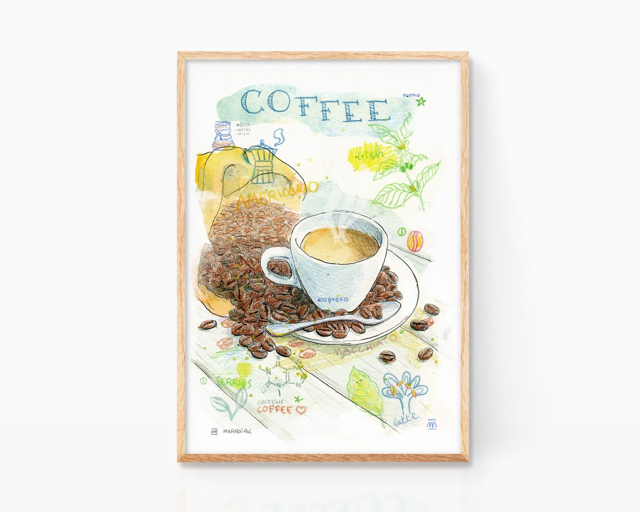 Picture with a decorative watercolor for kitchens. Cup of coffee made in watercolor on paper.