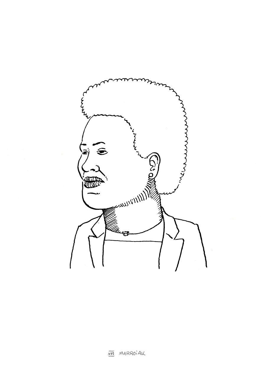 Retrato a tinta sobre papel de Anne Mazimhaka Illume