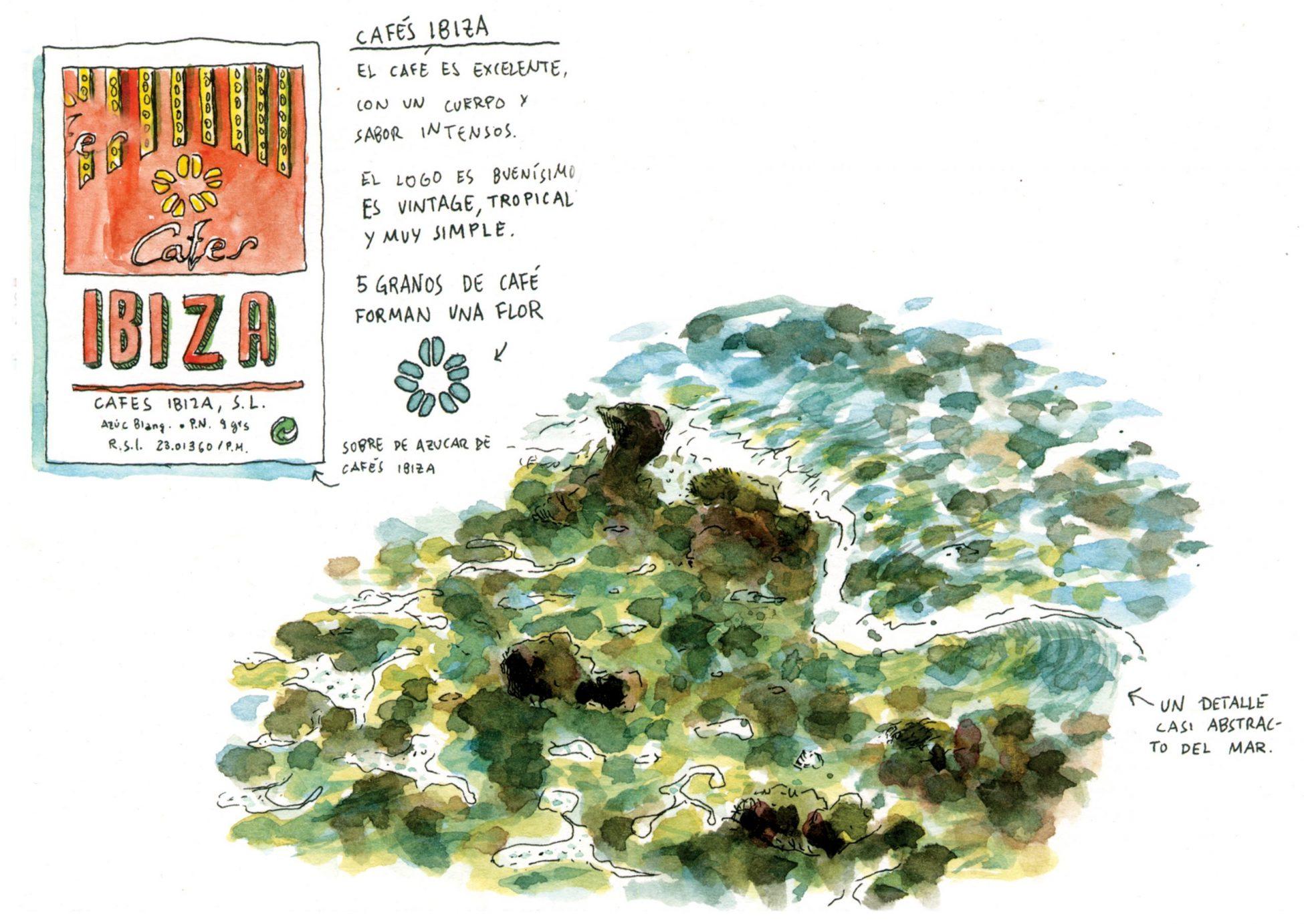 Dibujo en acuarela de una ola en Ibiza y café