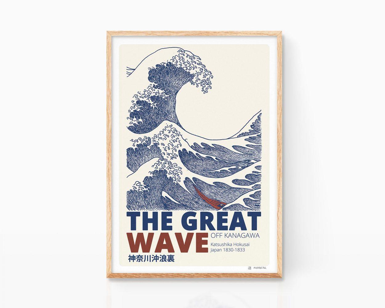 Ukiyo-e drawing print with the great wave off kanagawa by the Japanese artist Katsushika Hokusai. Design and illustration. Japanese Print