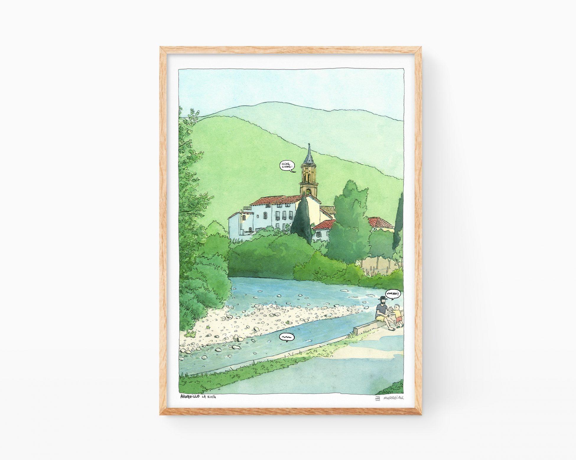 Cuadro decorativo para enmarcar con una ilustración del Rio Cidacos a la altura del municipio de Arnedillo en La Rioja (España). Láminas de viajes y recuerdos del norte de la Península Ibérica.