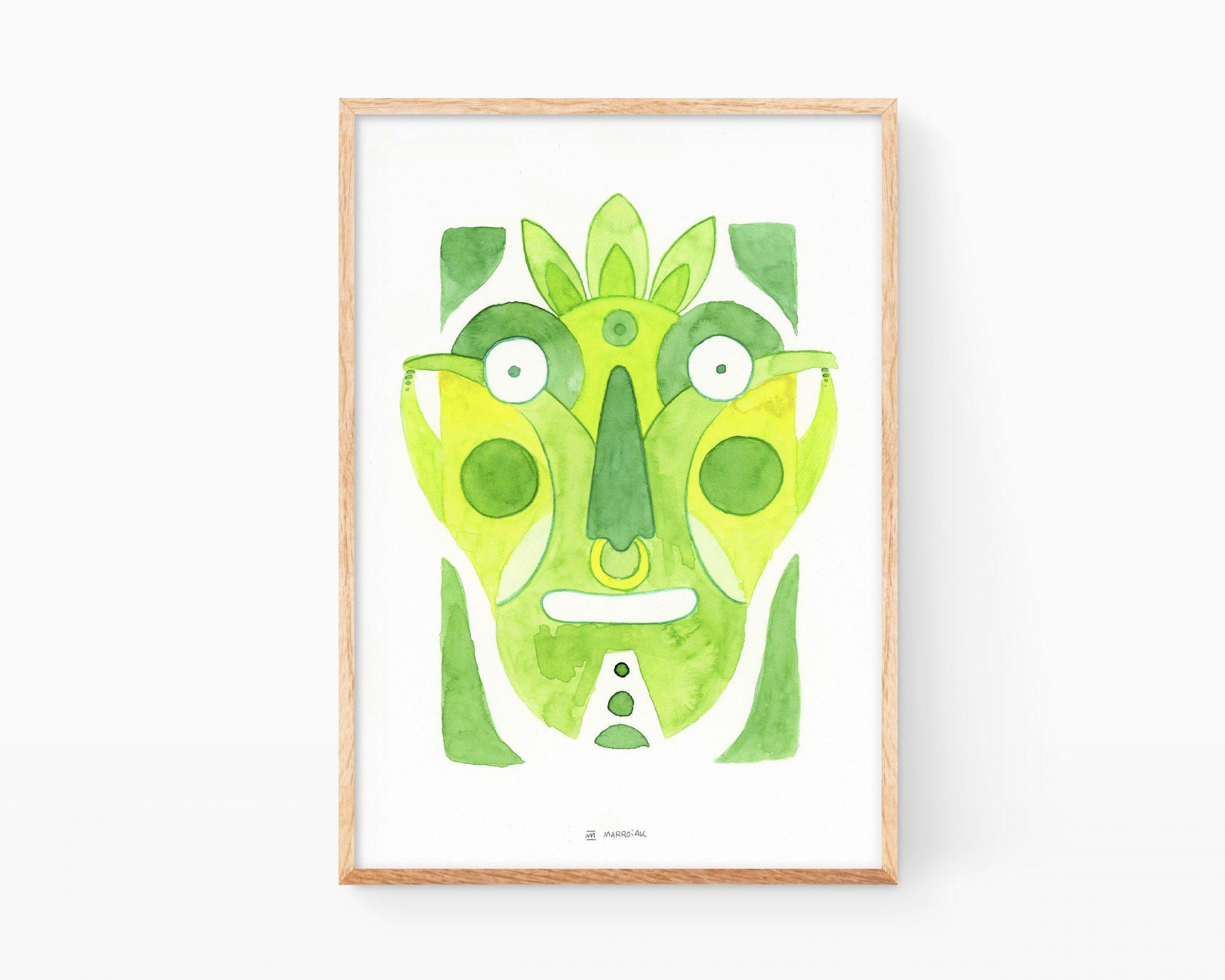 Cuadro para enmarcar decorativo con una pintura en acuarela de una cara semi abstracta. Color verde vegetal