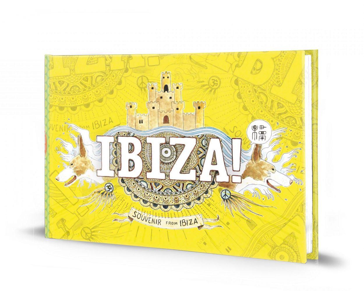 Portada guía ilustrada de Ibiza con acuarelas y dibujos de la isla mediterránea. España. Souvenirs de viaje