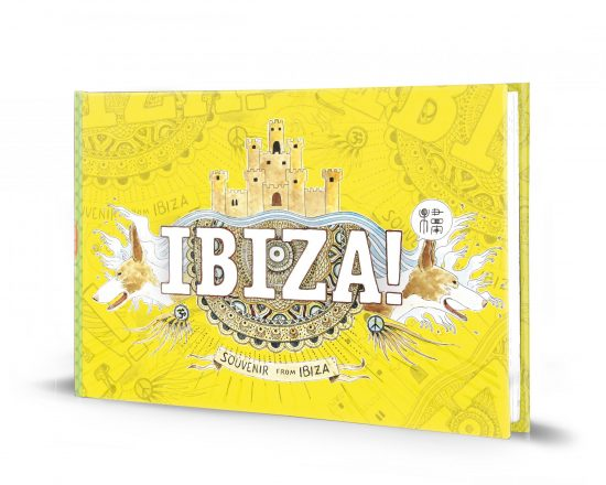 Illustrated guide cover of Ibiza with watercolors and drawings of the Mediterranean island. Spain. Travel souvenirs