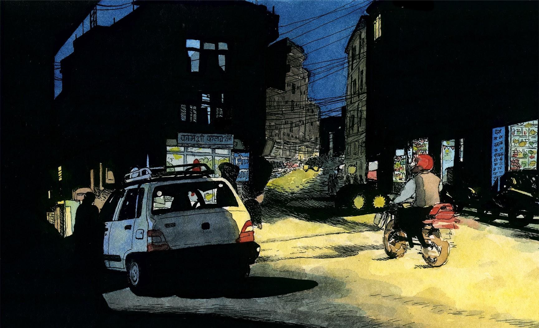Dibujo en acuarela de un atardecer en el barrio turistico de Thamel en la capital de Nepal Katmandú. Urban skerchers, comic, ilustración