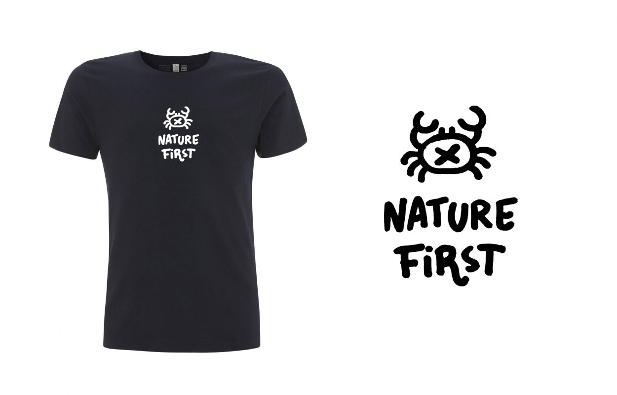 Diseño de camiseta de comercio justo y algodón orgánico nature first