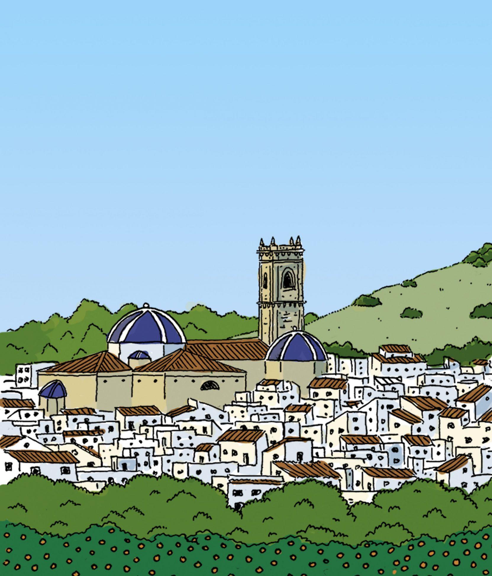Ilustración con una vista del centro histórico del municipio de Oliva con la iglesia de san roque.