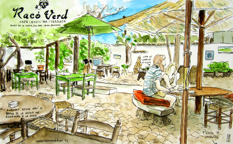 Dibujo en acuarela del restaurante Racó Verd en el municipio de San Jose, Ibiza, Baleares, España