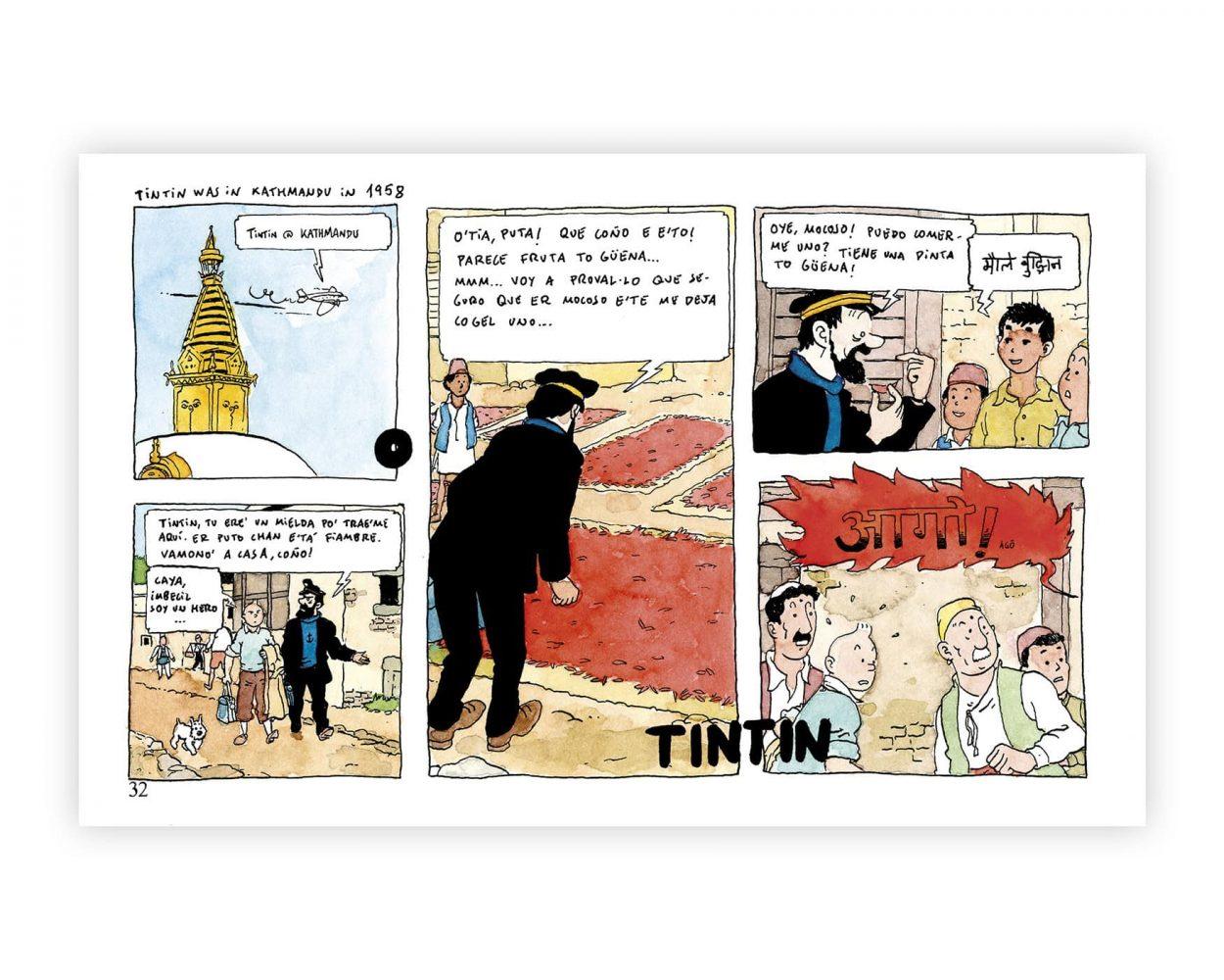 Dibujo del comic Tintin en el Tibet. En esta ocasión están en la capital de Nepal Katmandú. Ilustración Art Remixes