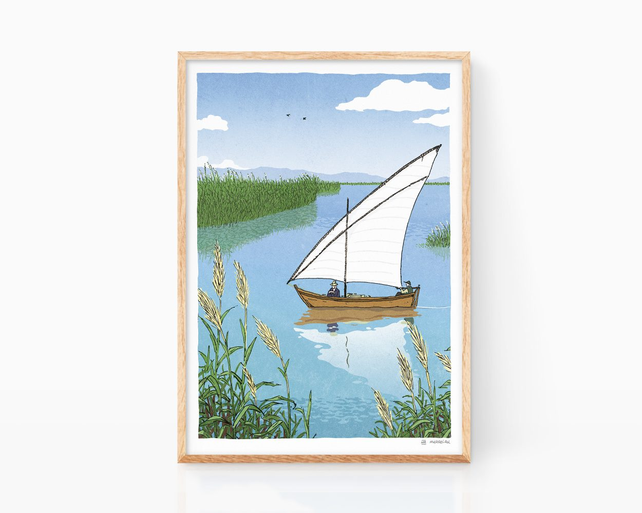 Poster with an illustration of the Albufera Natural Park in Valencia. Travel poster. Souvenir