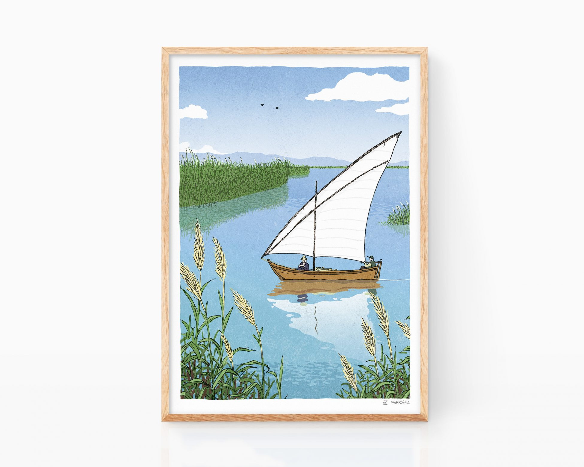 Lámina con una ilustración del parque natural de la albufera en Valencia. Poster de viaje. Souvenir