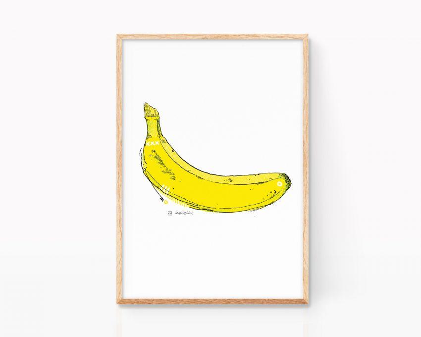 Cuadro decorativo para cocinas con una banana al estilo Andy Warhol y Velvet Underground. Dibujo a tinta más impresión digital.