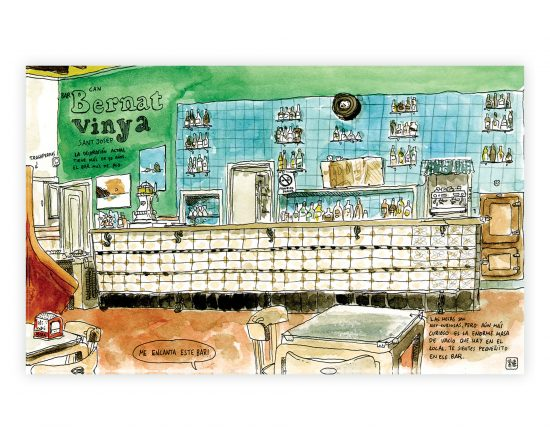 Dibujo en acuarela y tinta del bar bernat vinya en el municipio de Sant Josep de Sa Talaia, Ibiza. Islas Baleares, España. Mediterraneo