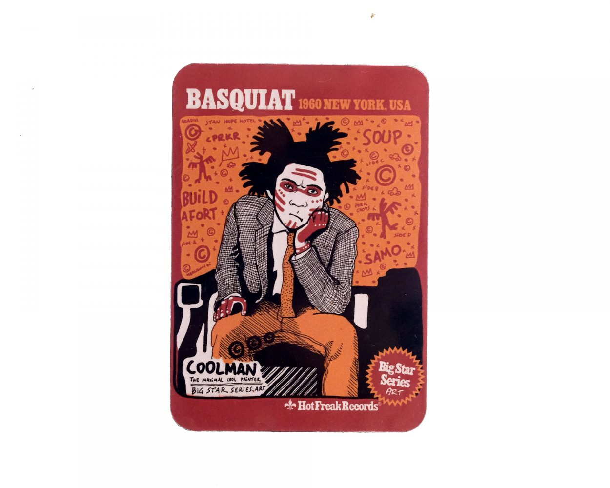 Fridge Magnet with a drawing portrait of the artist Jean Michel Basquiat. Modern Art Illustration. Grafitti