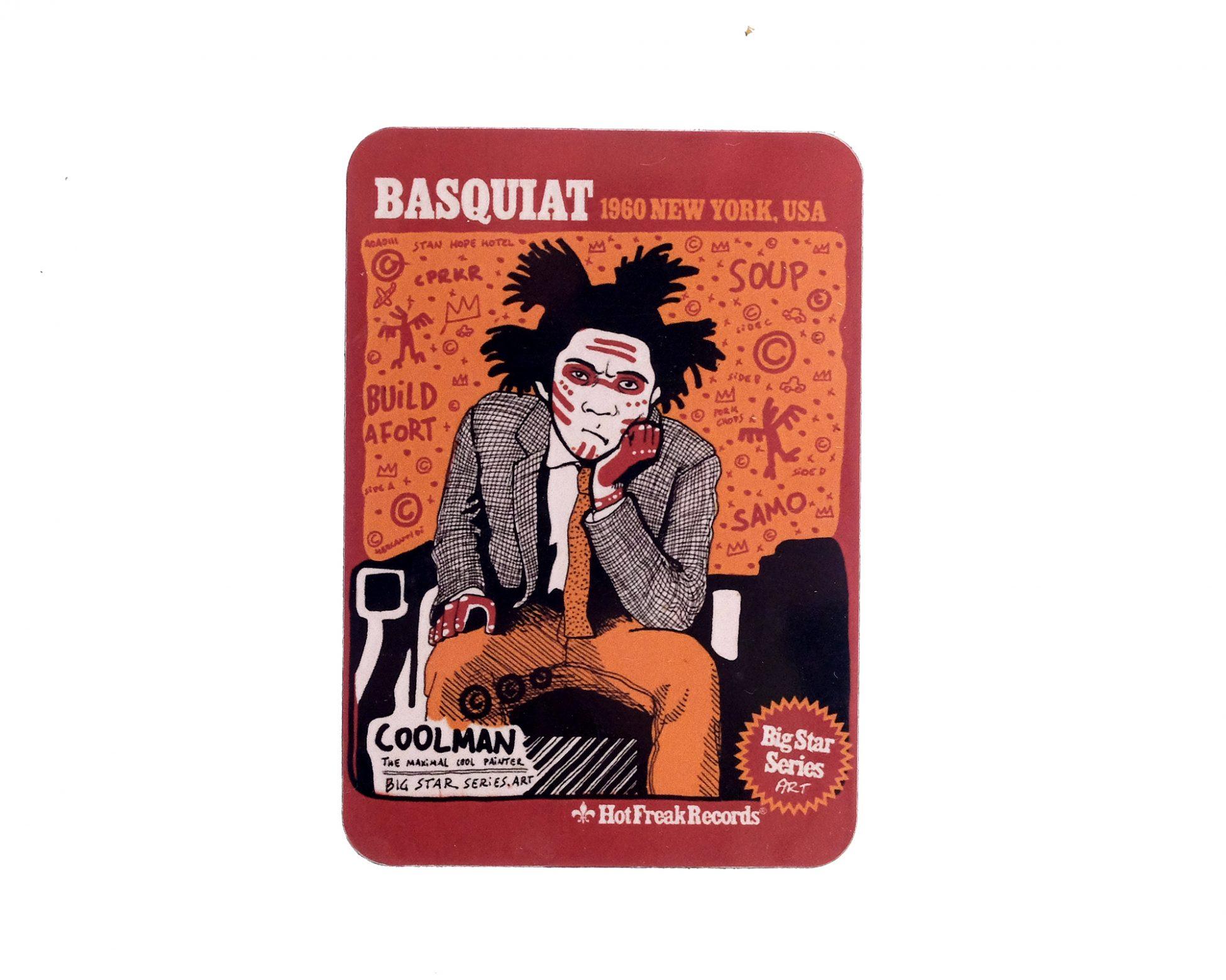 Imán de nevera con un dibujo de un retrato del artista Jean Michel Basquiat. Ilustración de Arte Moderno. Grafitti.