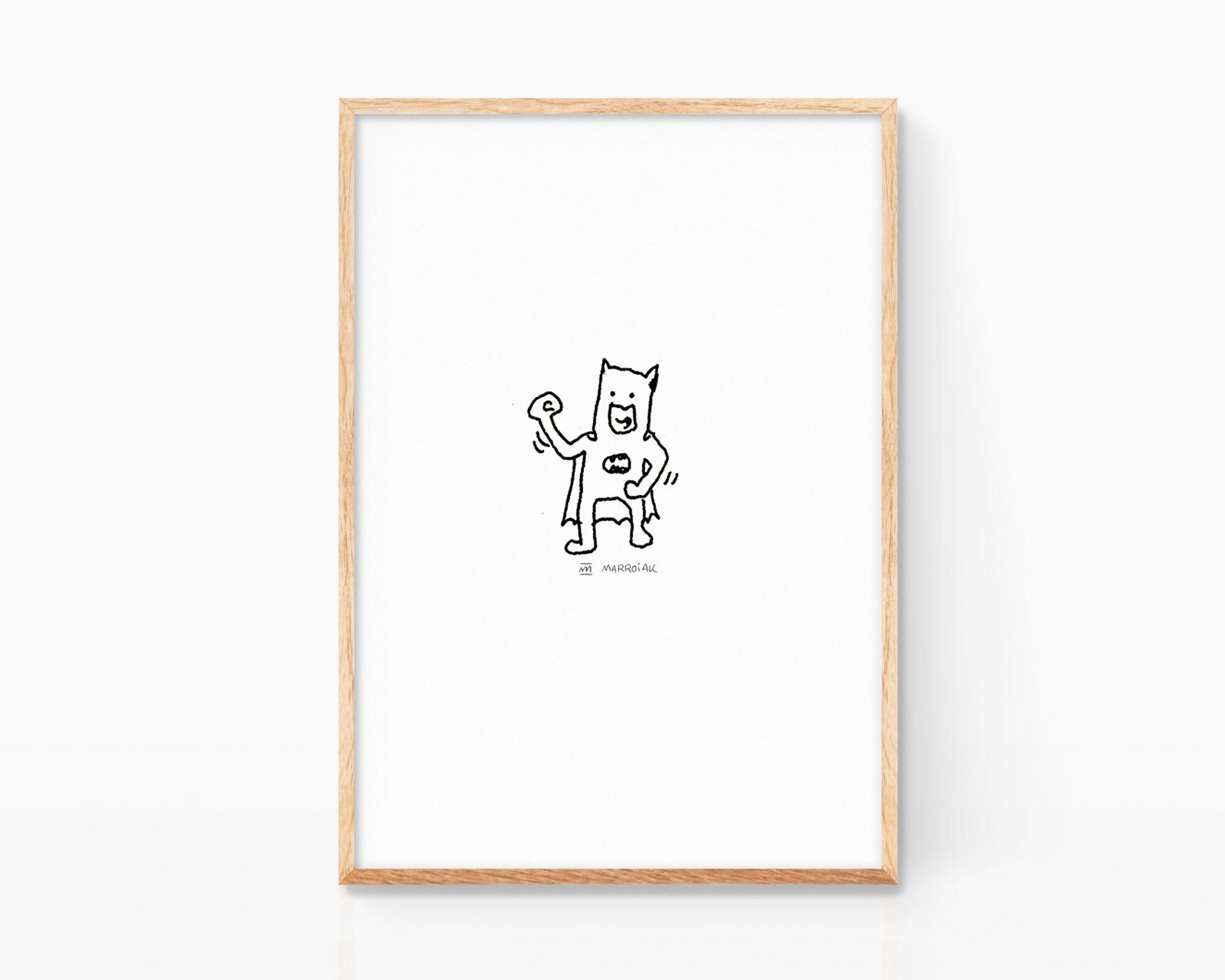 Lámina decorativa de batman. Ilustración minimalista y grunge