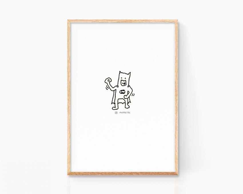 Black and white drawing of the super hero Batman. Funny illustration decor for kids