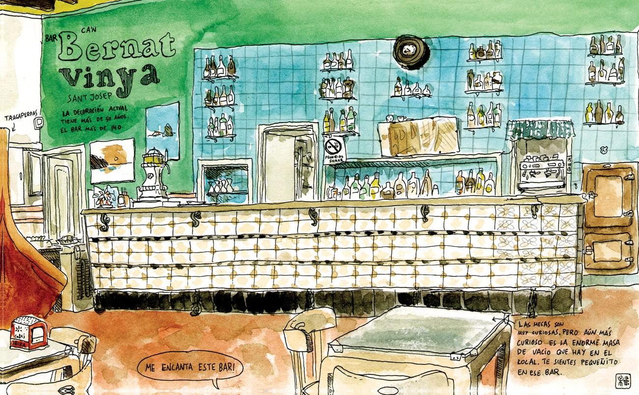 Dibujo del Bar Bernat Vinya en Ibiza estilo Urban Sketchers