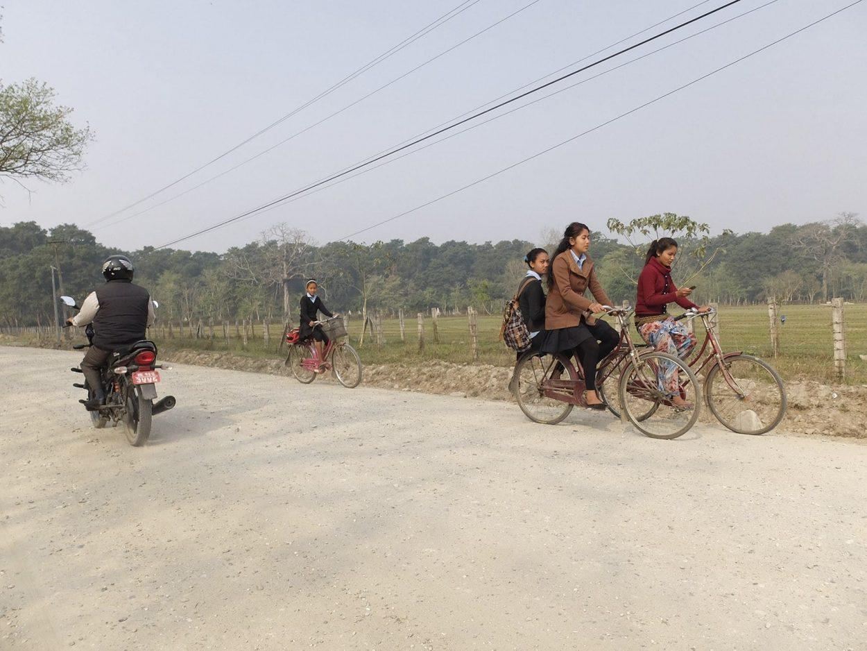 Fotografía de unas bicicletas en un camino anexo al Parque Nacional de Chitwan al sur de Nepal