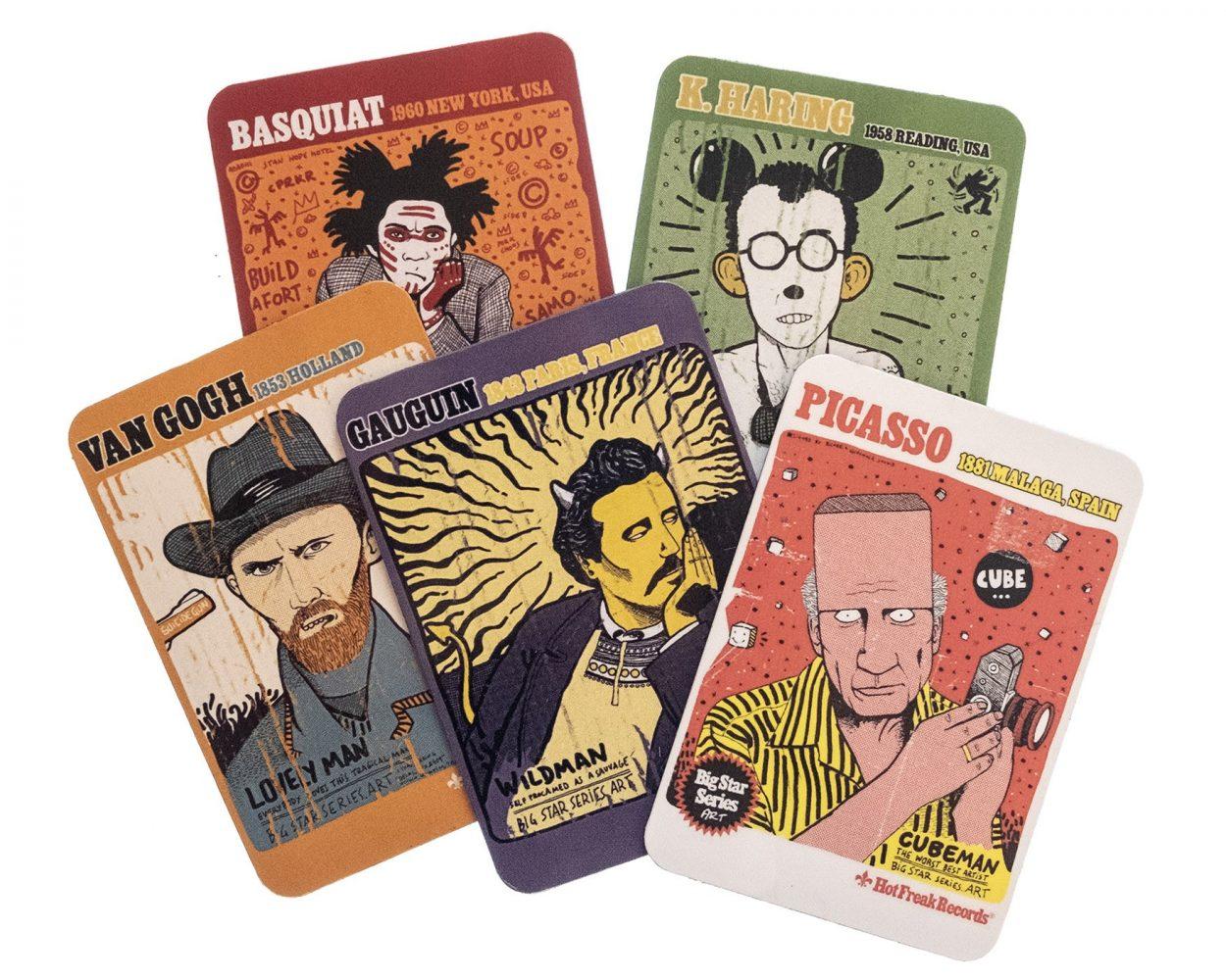 Merchandising de imanes con dibujos de los artistas Pablo Picasso, Paul Gaugin, Jean Michel Basquiat, Van Gogh, Keit Haring