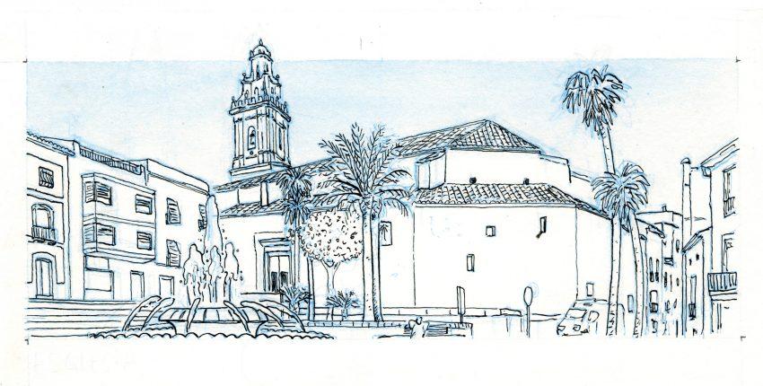 Boceto de una ilustración de la iglesia principal del municipio alicantino de Pego (La Marina Alta, Alicante)