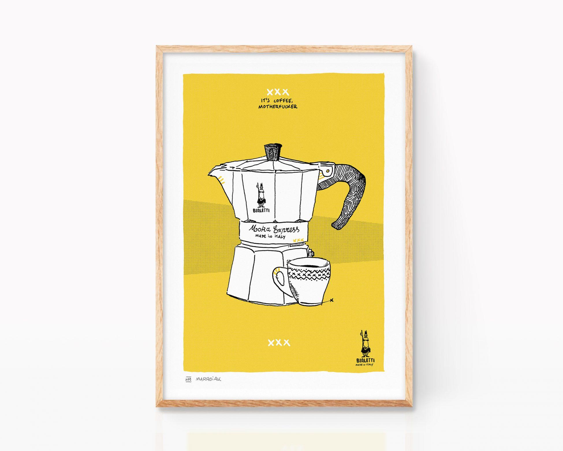 Lámina decorativa para cocina con una ilustración de una cafetera italiana vintage Bialetti. Cuadros para enmarcar con motivo nórdico. Dibujos para comprar online.