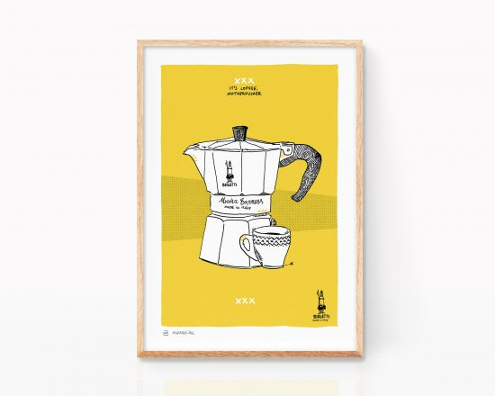 Art print with a drawing of a vintage Italian Bialetti coffee maker. Ink illustration on color paper. Decorative painting for kitchens. Pop Art Decor