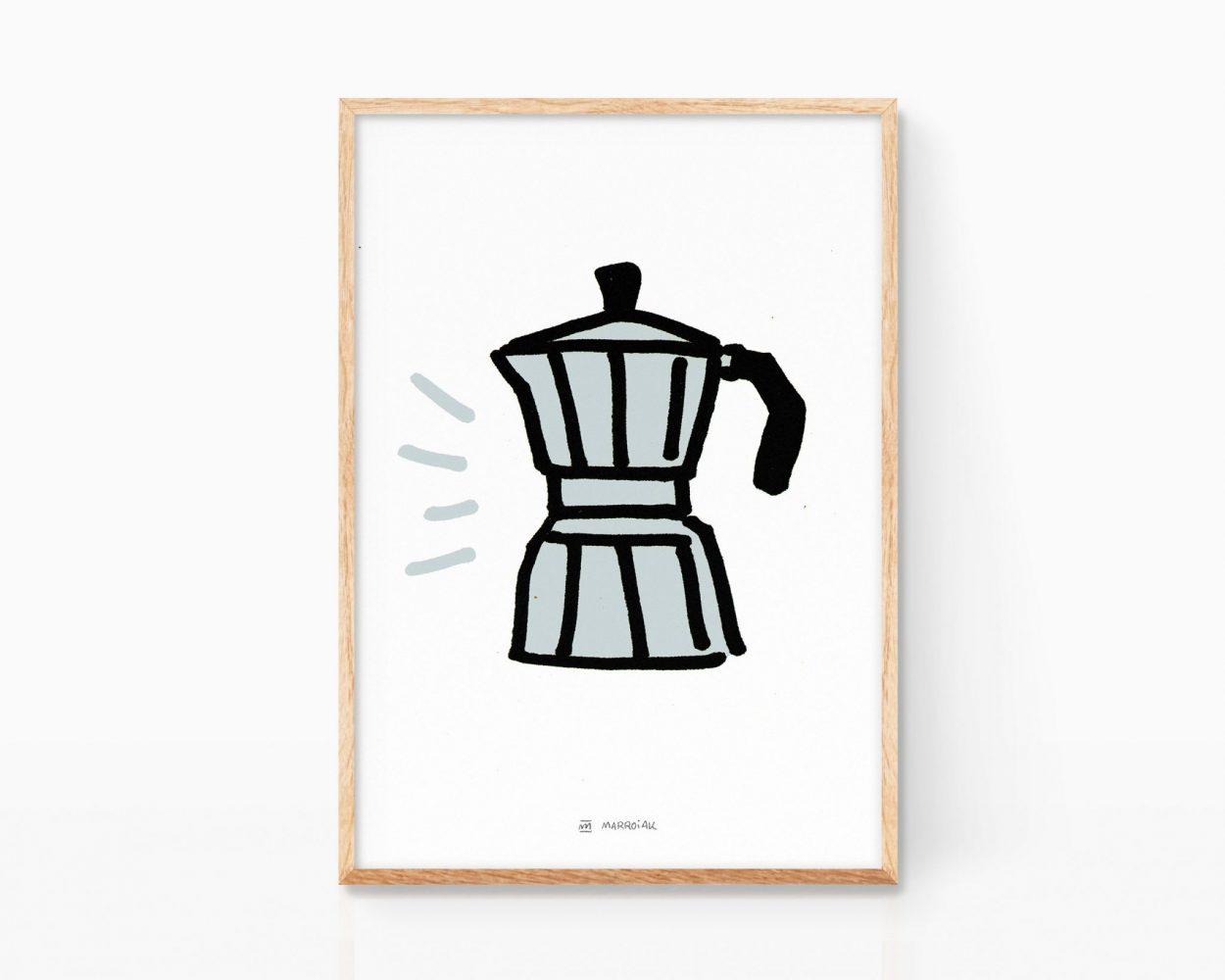 Lámina con una ilustración de una cafetera italiana vintage minimalista. Dibujo simple y divertido. Decoración para cocinas