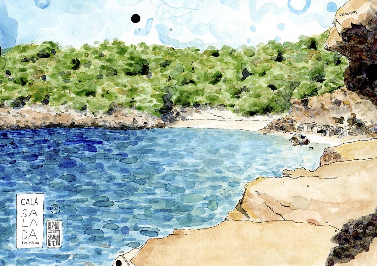 Lámina decorativa ilustración en acuarela y tinta sobre papel de la playa Cala Salada en la isla mediterránea de Ibiza, Baleares, España.