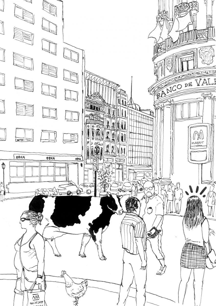 Dibujo de una calle de la ciudad de Valencia realizada en tinta china sobre papel.