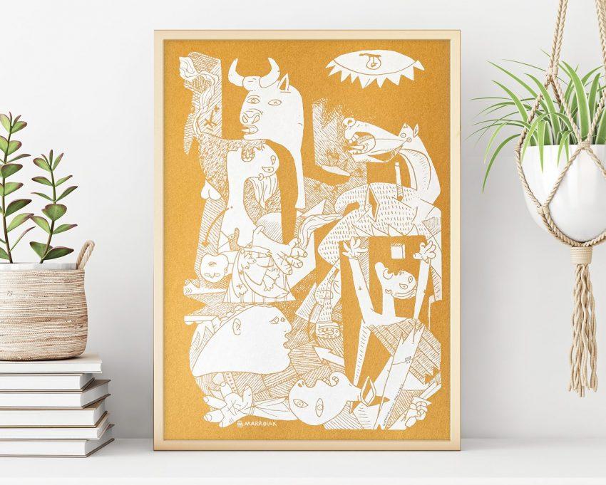 Serigrafía vertical Guernica Camello Remix