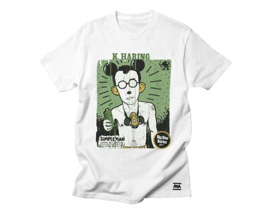 Camiseta con un dibujo del artista pop de nueva york keith haring.