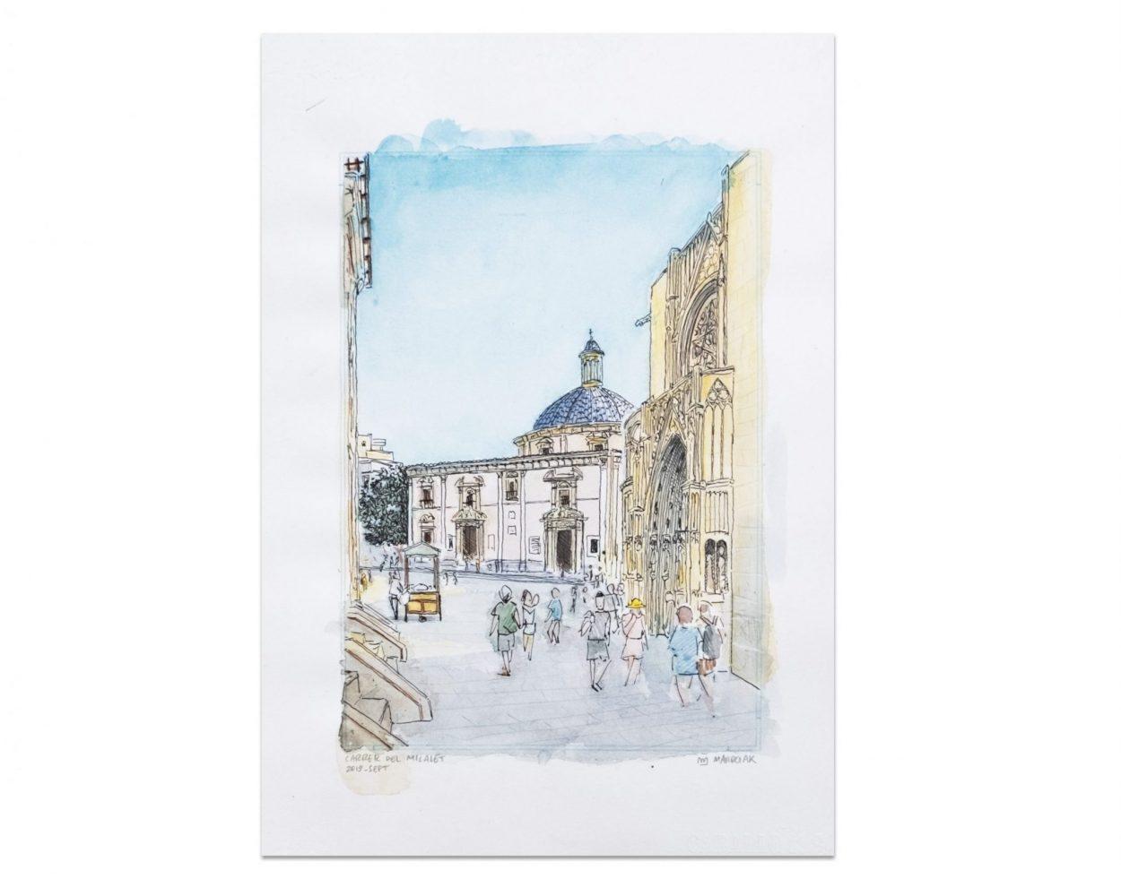 Ilustracion acuarela y tinta calle micalet valencia. Urban sketchers original. Pintura. boceto