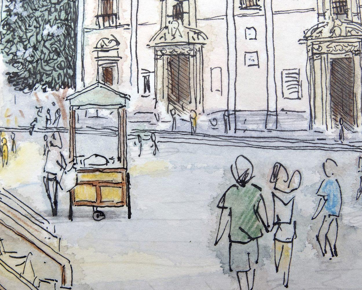 Detalle de un dibujo en acuarela calle del barrio del carme. Ilustracion, urban sketchers