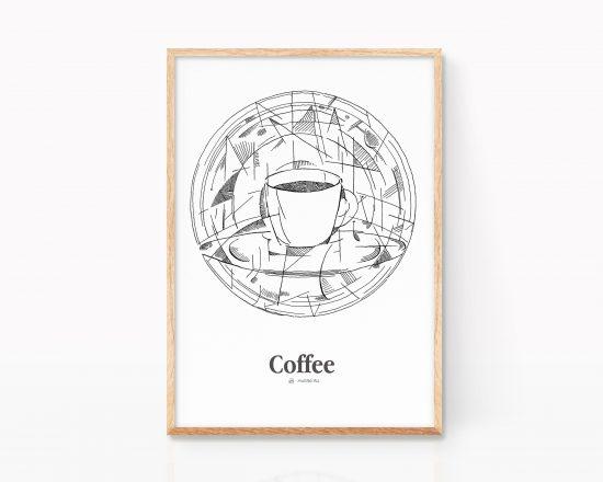 Lámina con una ilustración de una taza de café espresso en blanco y negro. Decoración para cocinas y cafeterías. Estilo cubista, pablo picasso