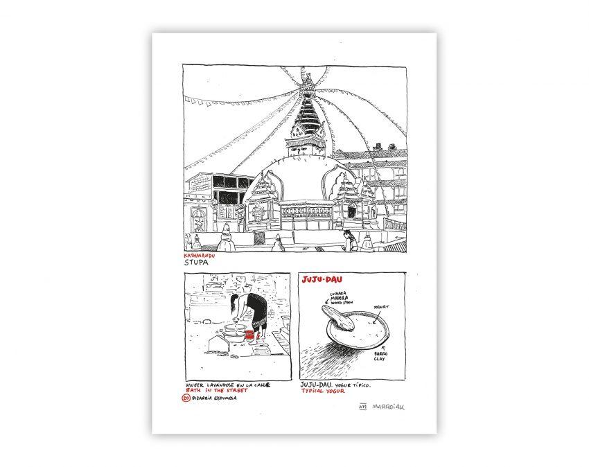 Cuadro para enmarcar con una ilustración de un comic de nepal. Estupa, Asia