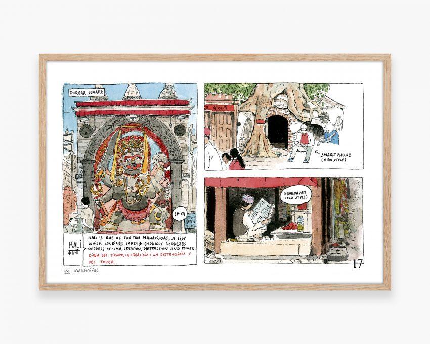 Cuadro decorativo para enmarcar con un dibujo en acuarela de la Plaza Durbar Square de Kathmandú. Ilustraciones de viajes estilo Urban Sketcherspor Nepal.