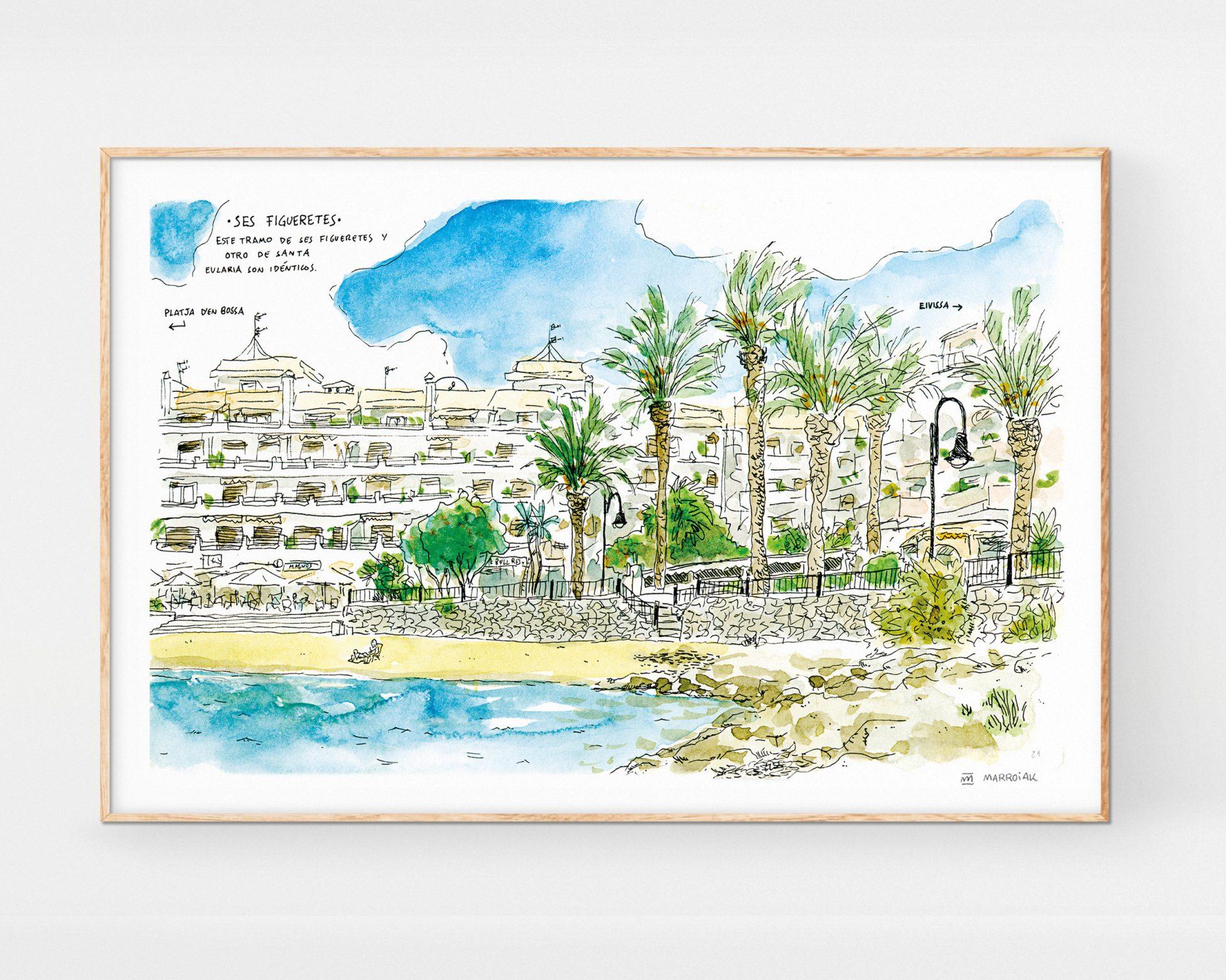 Ilustración en acuarela y tinta de la playa urbana de Ses Figueretes en la ciudad de Eivissa en las Islas Baleares. Urban Sketchers Arte