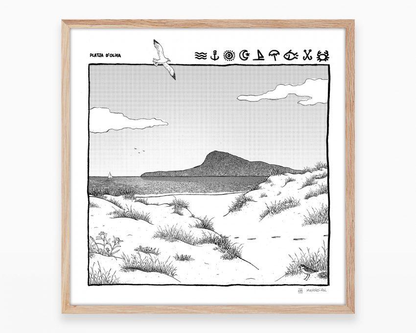 Serigrafía original en blanco y negro con un dibujo de la playa de Oliva y Denia con el Montgó y el mar de fondo. Arte de Valencia
