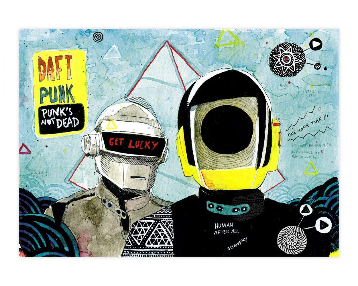 Dibujo en tinta y acuarela de Daft Punk. Casco ilustración. Música electrónica