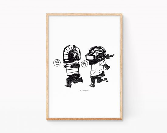 Poster with a drawing of daft punk kids. Music decor gift. Shop online.