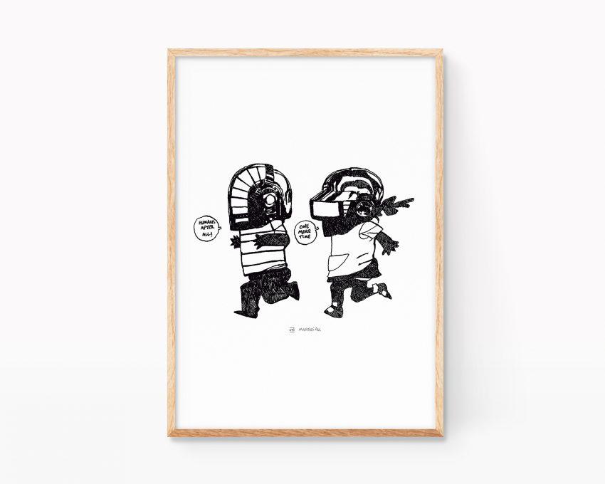 Cuadro para enmarcar con una ilustración retrato de la banda francesa de música electrónica Daft Punk. Parodia Art Remixes