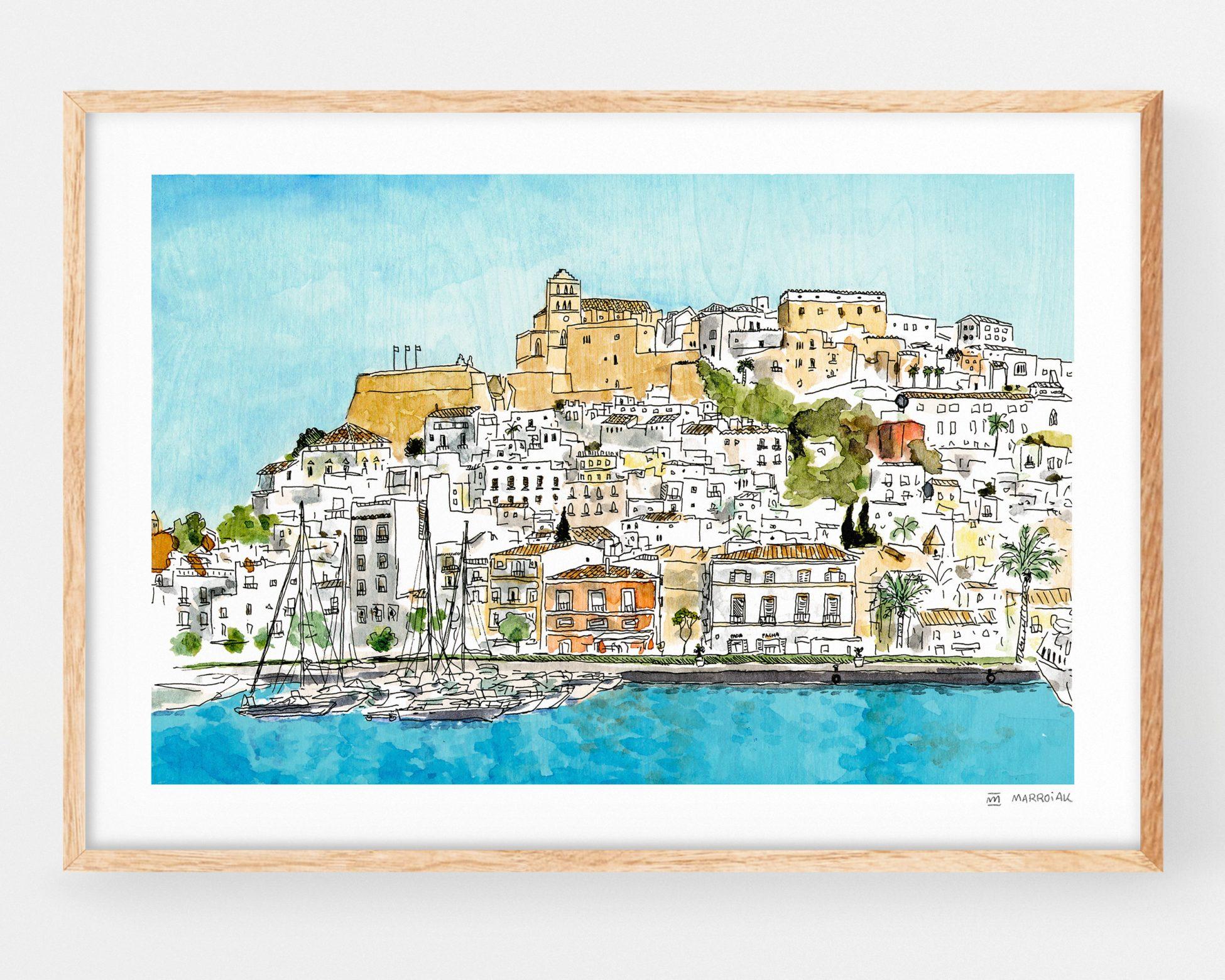 Cuadro decorativo de ibiza con un dibujo de Dalt Vila. Ilustracion en acuarela y tinta sobre papel. Islas Baleares España