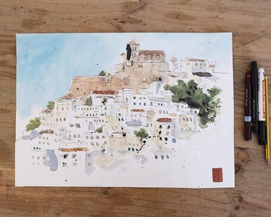 Boceto en acuarela de Dalt Vila, Ibiza. Dibujo rápido. Ilustración Urban Sketchers. Baleares. España