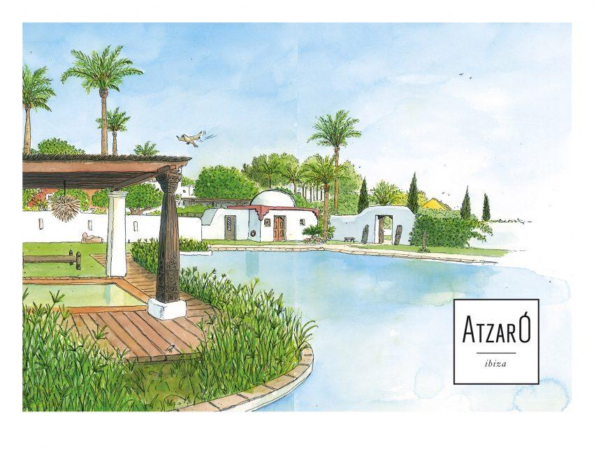 Ilustración de Ibiza realizado en acuarela del hotel rural de lujo Hotel Atzaró en la isla de Eivissa. Baleares (España). Paisajes del mar mediterráneo.